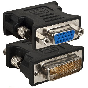 DVI-I Male to VGA Female - Zwart