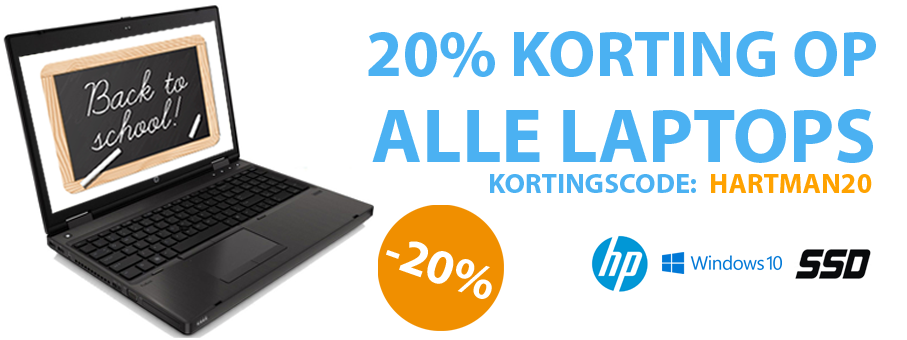20% korting op alle laptops!